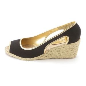 Ralph Lauren Black Open Toe Wedges Espadrilles 7